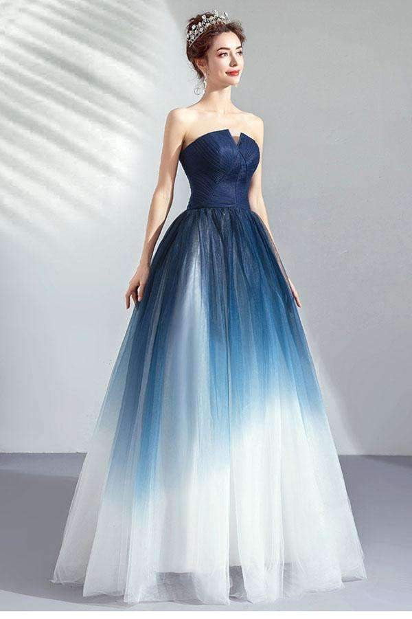 Chic Strapless A Line Prom Dress Open Back Floor Length Party Dress P874