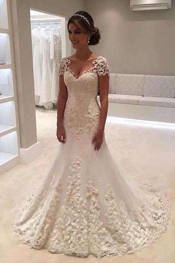 Chic Trumpet V-Neck Tulle With Applique Short Sleeves Wedding Dress W319