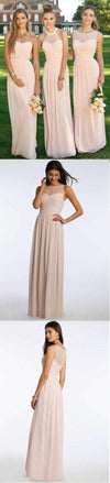 Chiffon Blush Pink Modern Formal Floor-Length Bridesmaid Dresses, WG103