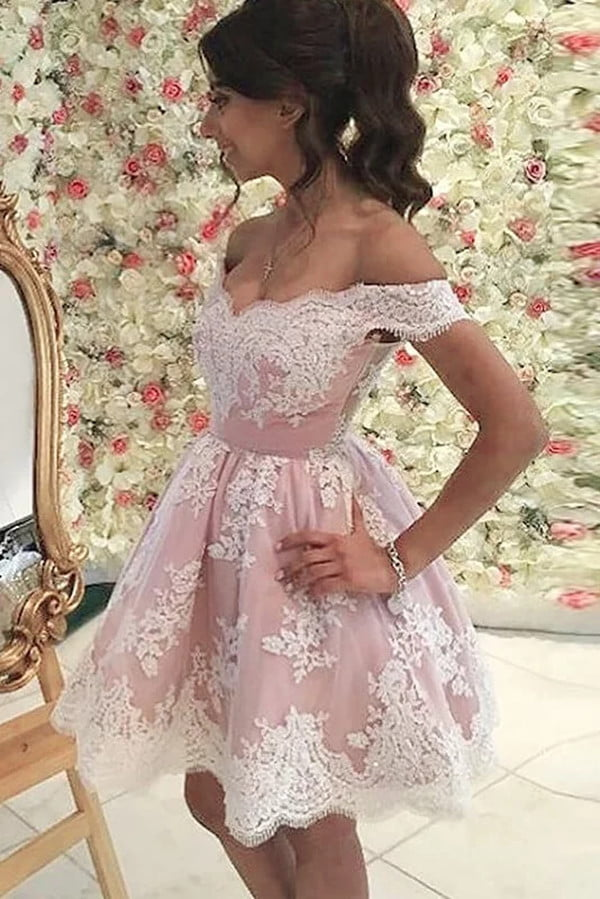 Cute Lace Sleeveless A line With Appliques Homecoming Dress M504