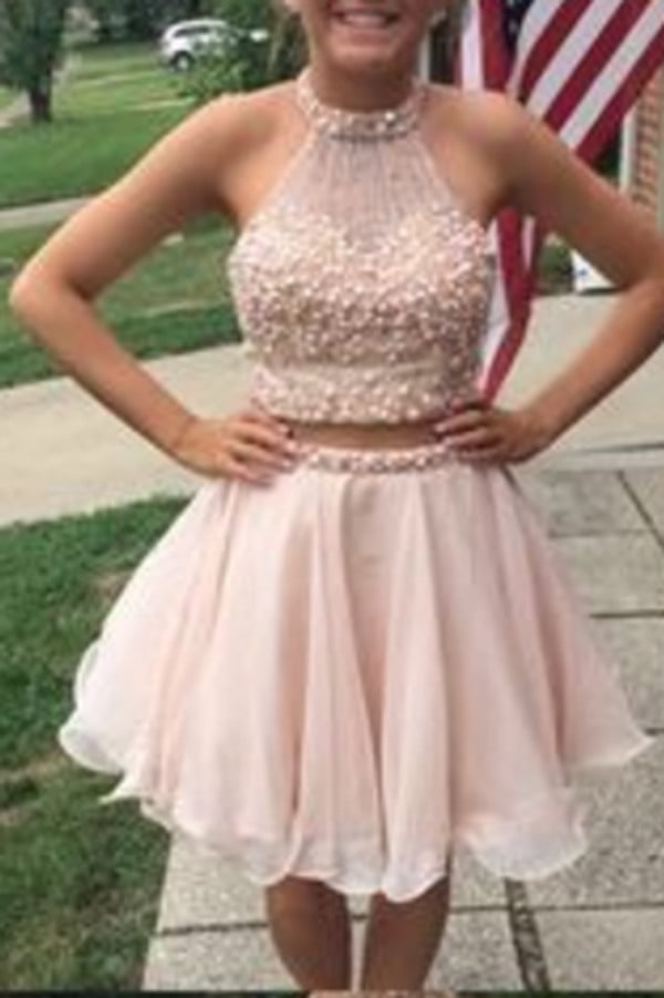 Cute Pink Sleeveless Chiffon Homecoming Dress,Appliqued Beaded Strapless Short Prom Dress HCD80