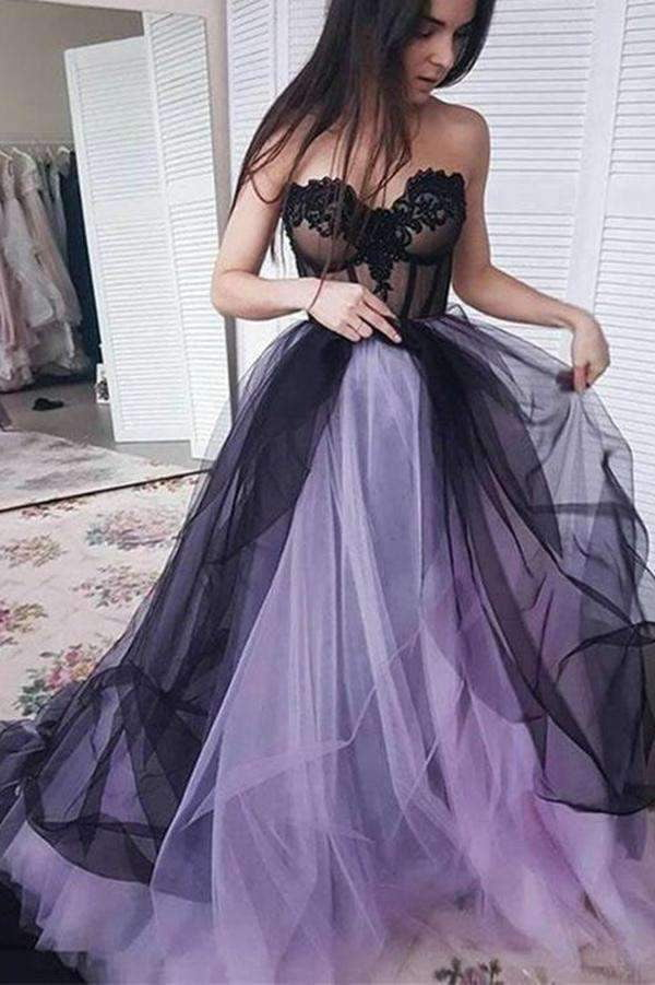 Cute Strapless Sweetheart Long Party Dress Tulle Sweep Train Prom Dress P959
