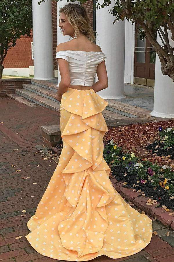 Cute Two Pieces Off Shoulder Sweetheart Prom Dresses Long Party Dress P949