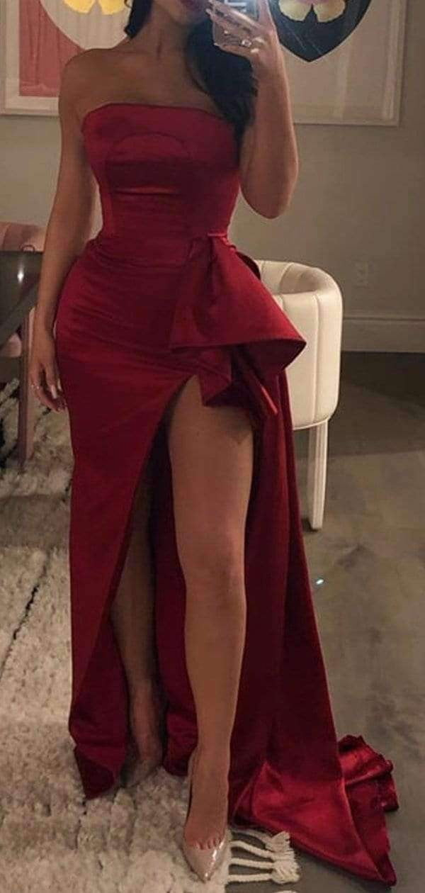 Dark Red Strapless Sheath Slit Sexy Unique Prom Dresses,PD00309