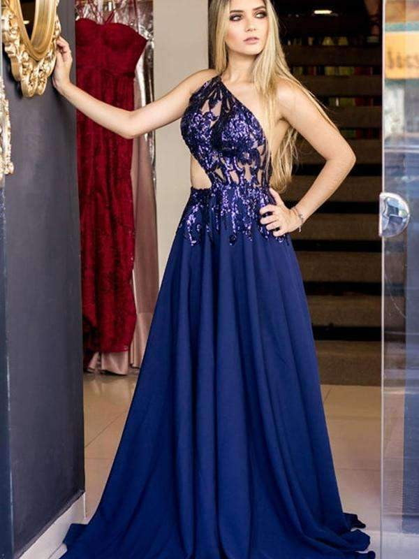 Dark Royal Blue Chiffon Shiny Applique Backless One Shoulder Prom Dresses,PD00208