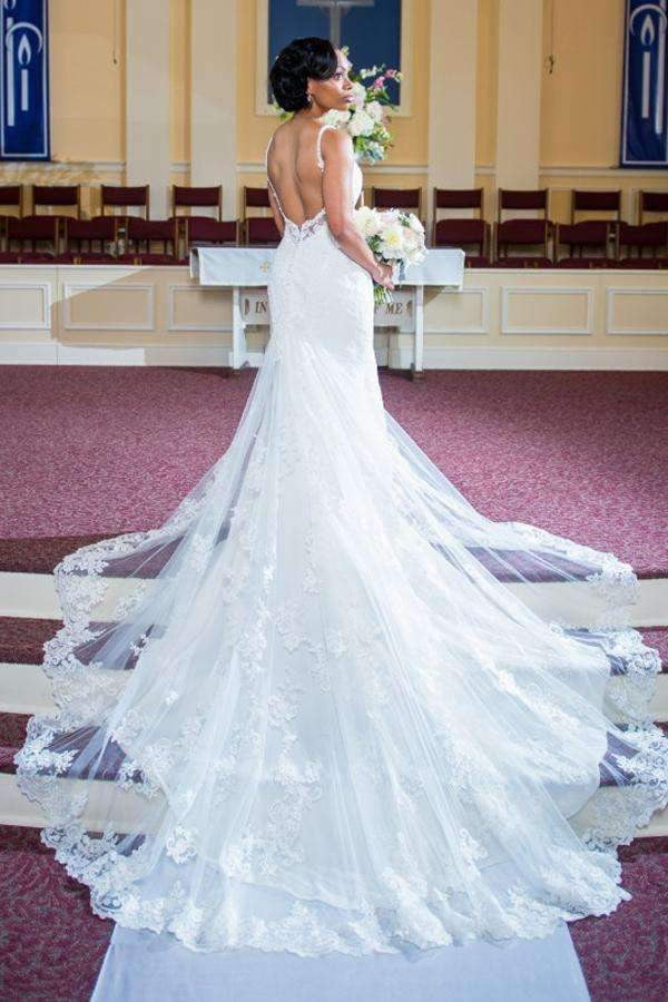 Deep V Neck Backless Wedding Gown,Chapel Train Sleeveless Wedding Dress W135