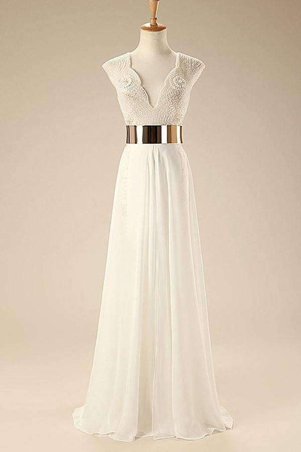 Deep V Neck Cap Sleeves White Chiffon Gold Belt Summer Beach Wedding Dress OM564