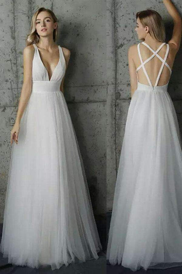 Deep V Neck Open Back Tulle A Line Floor Length Wedding Dress W426