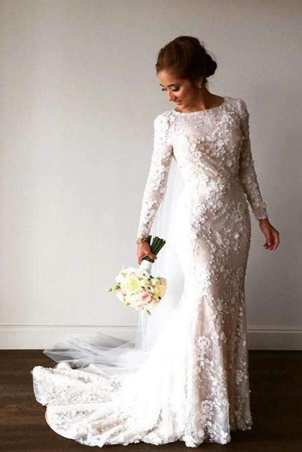 Delicate Mermaid Lace Appliques Long Sleeves Wedding Dresses W370