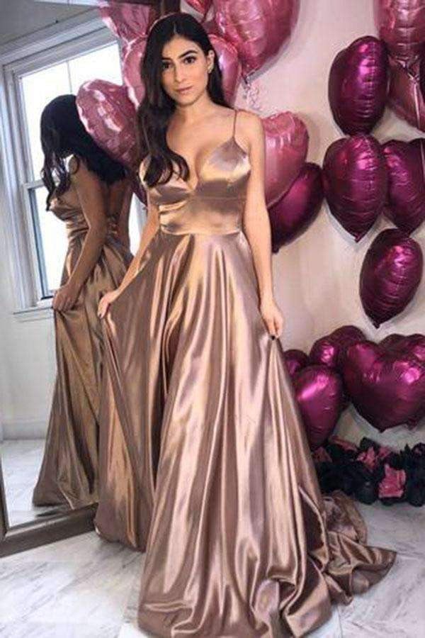 Delicate Spaghetti Straps Sweep Train V Neck Satin Sleeveless Prom Dresses P972