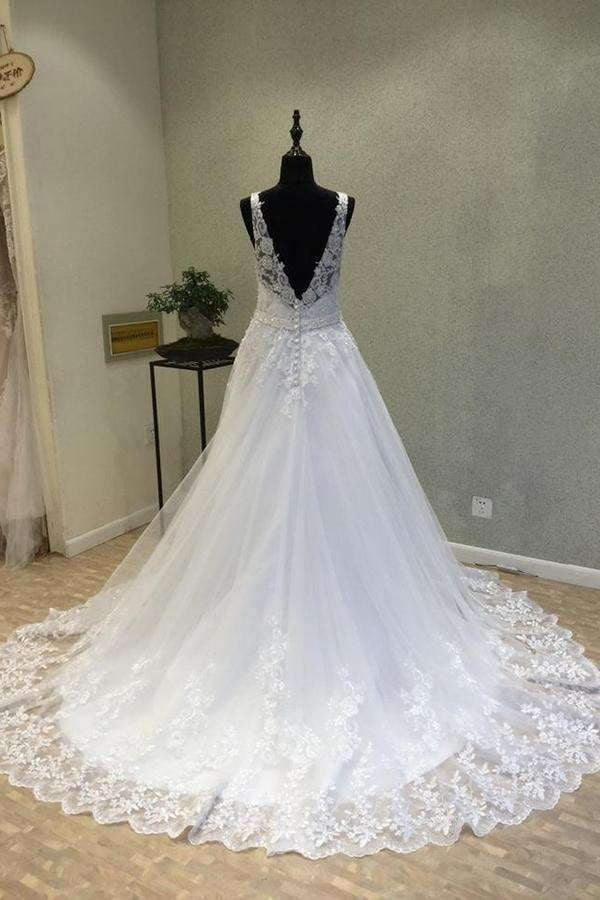 Delicate V Neck With Lace Appliques Wedding Dresses W009