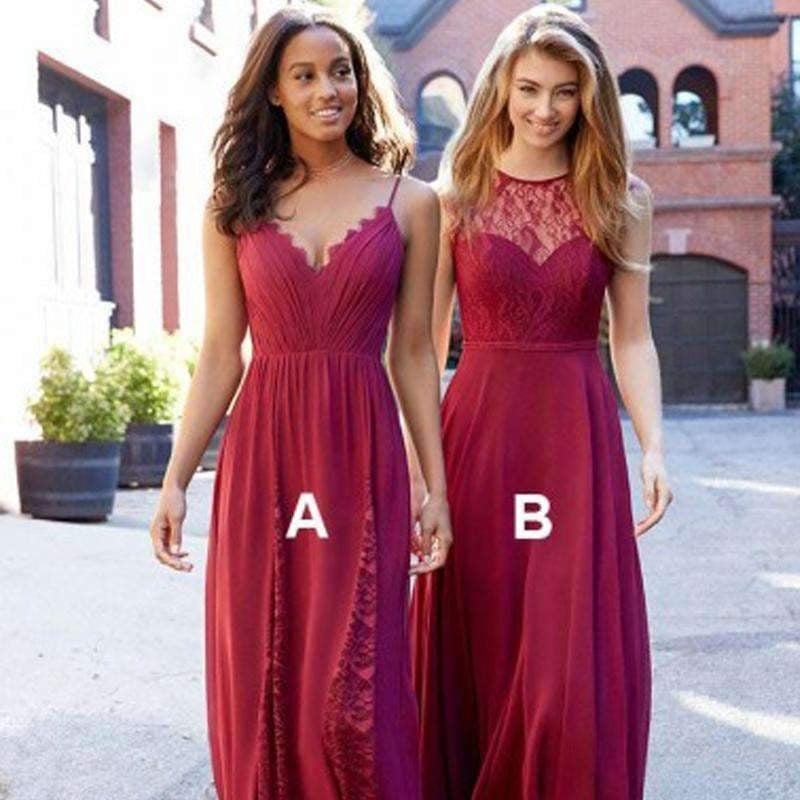 Different Style Sleeveless A Line Chiffon Bridesmaid Dresses Long Prom Dresses
