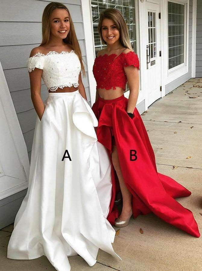 Different Style Two Piece A Line Bridesmaid Dresses Affordable Prom Dresses