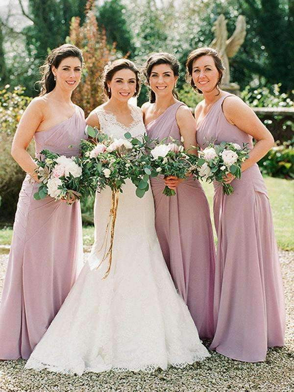 Dusty Pink Chiffon One Shoulder Long Bridesmaid Dresses, AB4030