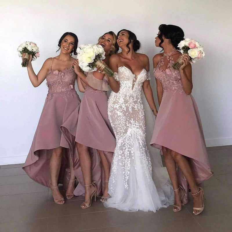 Dusty Pink Lace Mismatched High Low Elegant Bridesmaid Dresses, AB4035