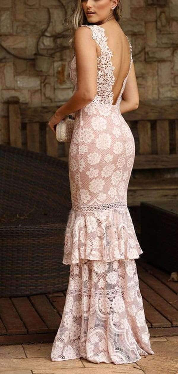 Dusty Pink Lace Tiered Mermaid Boho Long Prom Dresses.PD00273