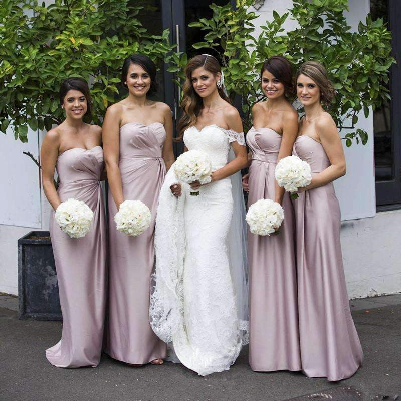 Dusty Pink Pleating Sweetheart Strapless Sheath Bridesmaid Dresses, AB4036