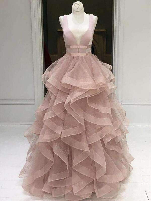 Dusty Pink Ruffles Ball Gown Sleeveless Prom Dresses ,PD00302