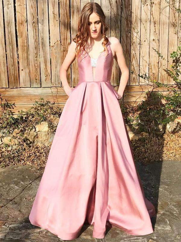 Dusty Pink Shiny Satin Bead Spaghetti Strap Rhinestone With Pockets A-line Prom Dresses