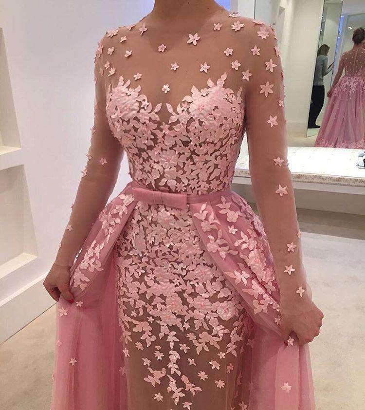 Dusty Rose Appliques Detachable Over-skirt Illusion Prom Dresses ,PD00127