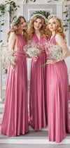 Dusty Rose Jersey Convertible A-line Long Bridesmaid Dresses, AB4068