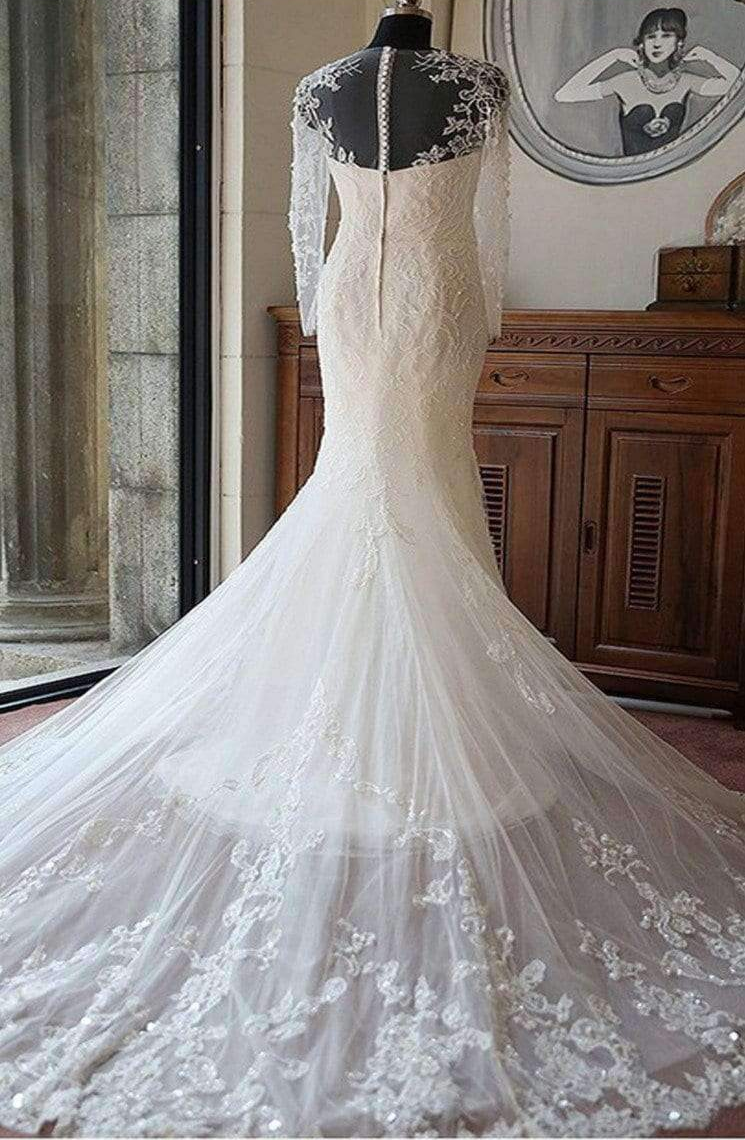 Sexy Long Sleeves Mermaid Lace Wedding Party Dresses, Unique Back Design Bridal Gown, WD0035