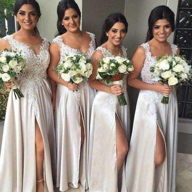 Elegant 2019 Cheap Bridesmaid Dresses A-line Chiffon Lace Slit Long Wedding Party Dresses For Women