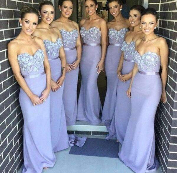 Elegant 2019 Cheap Bridesmaid Dresses Mermaid Sweetheart Lace Flowers Long Wedding Party Dresses For Women