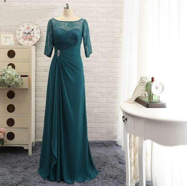 Elegant 3/4 Sleeves Long Mother Of The Bride Dresses Lace Beaute Plus Size For Weddings