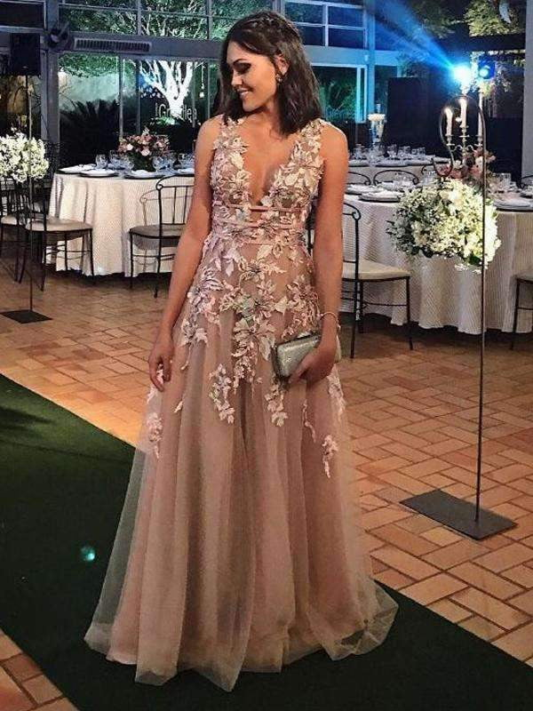 Elegant Applique Tulle Sleeveless V-neck A-line Prom Dresses,PD00191