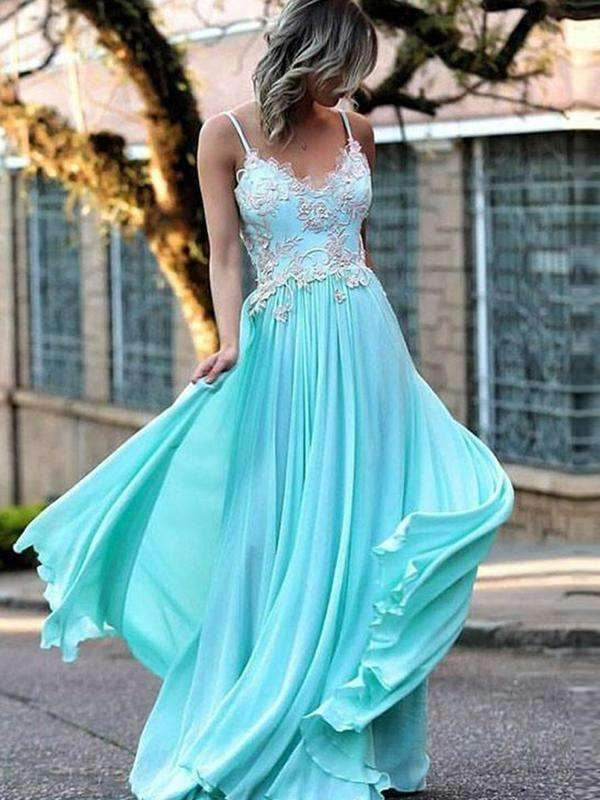Elegant Blue Spaghetti Strap V-neck Lace Appliques Chiffon High School Prom Dresses,PD00014