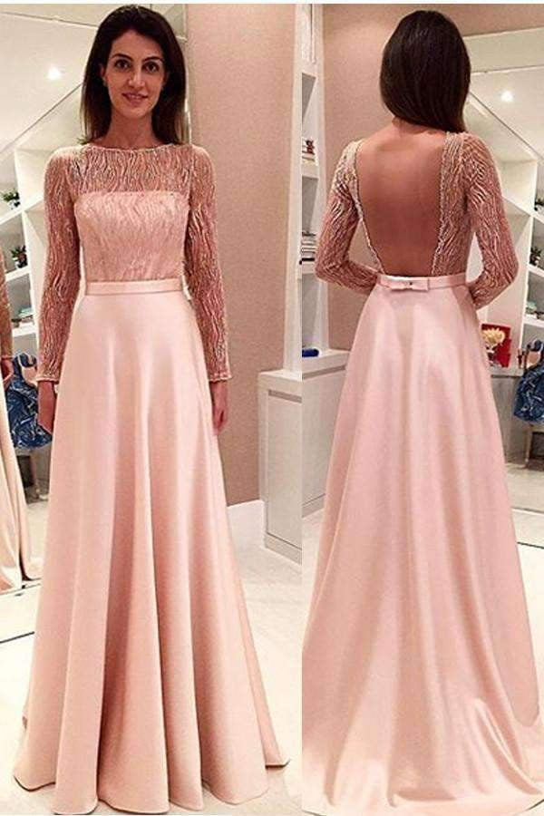 Elegant Boat Long Sleeves Prom Dress,Open Back Sheer Evening Dress OMP30