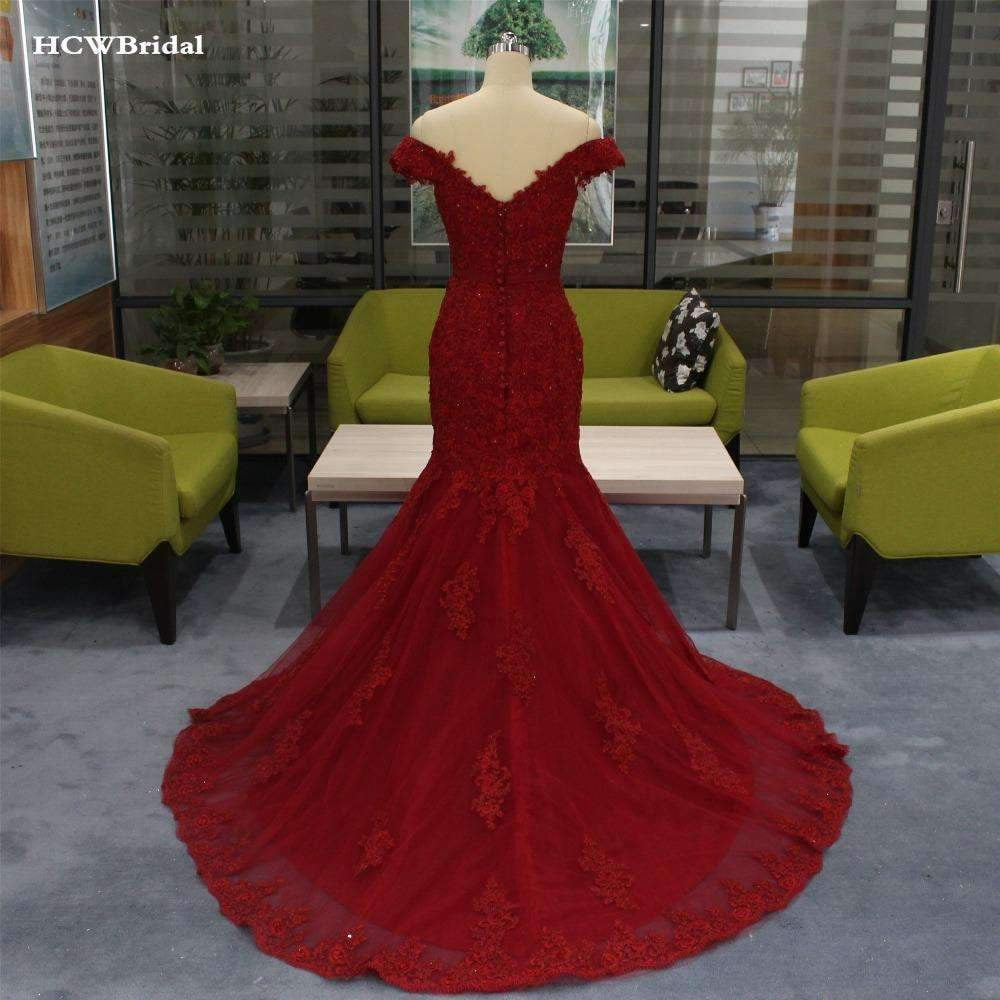 Elegant Burgundy Mermaid Evening Dress Chic Beading Lace Tulle Long Formal Dresses