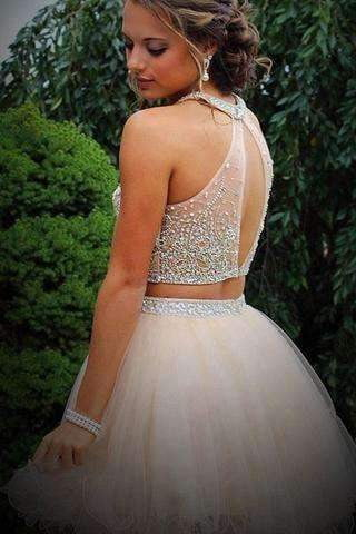 Elegant Homecoming Dresses With Beading,Two Piece Tulle Backless Prom Dresses