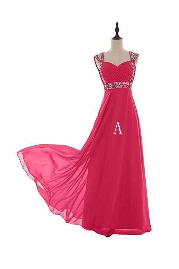 Elegant Hot Pink Sweetheart Backless Chiffon Prom Dress Long Bridesmaid Dress