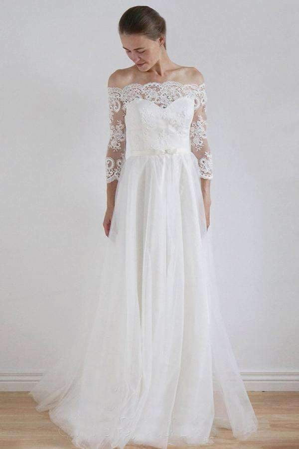 Elegant Lace Appliques Off the Shoulder Long Sleeves Wedding Dresses W371