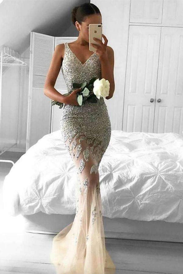 Elegant Mermaid V Neck Tulle With Sequins Sleeveless Prom Dress P756
