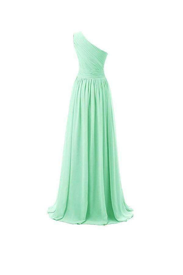 Elegant Mint Green One Shoulder Empire Waist Chiffon Bridesmaid Dress Long Prom Dress