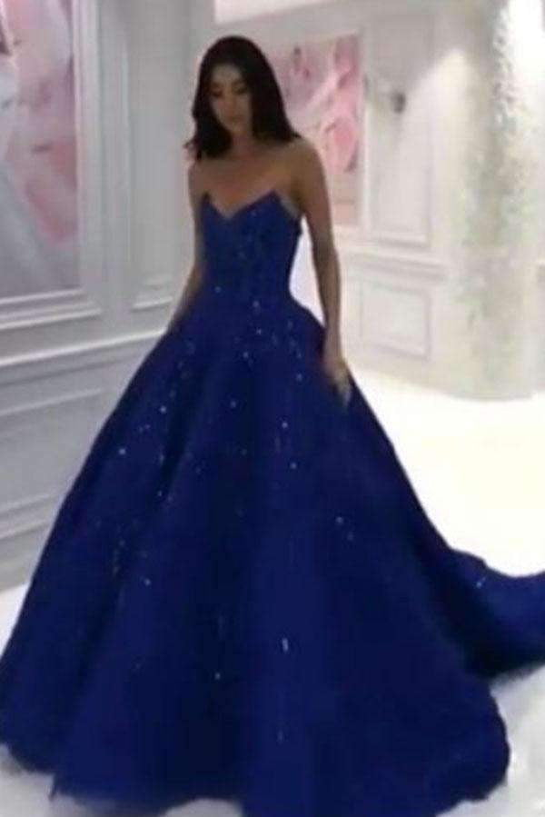 Elegant Navy Blue Sleeveless Prom Dresses Sweep Train Ball Gowns P986