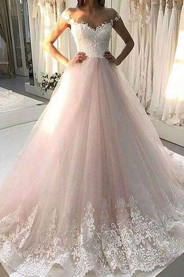 Elegant Off Shoulder Sweetheart Sleeveless Wedding Dress Ball Gown W531