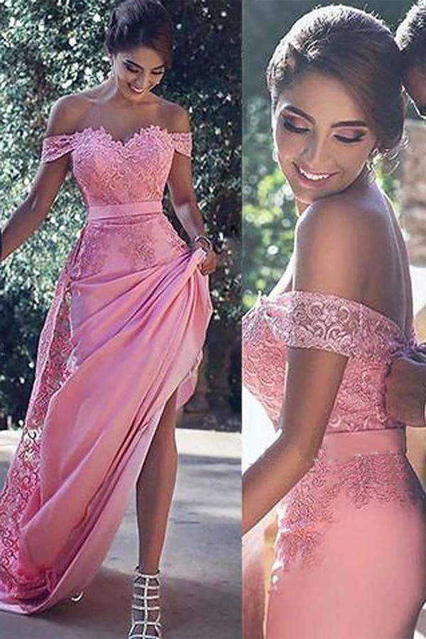 Elegant Pink Sheath Off-the-Shoulder Sleeveless Sweep Train Lace Long Prom Dresses P563