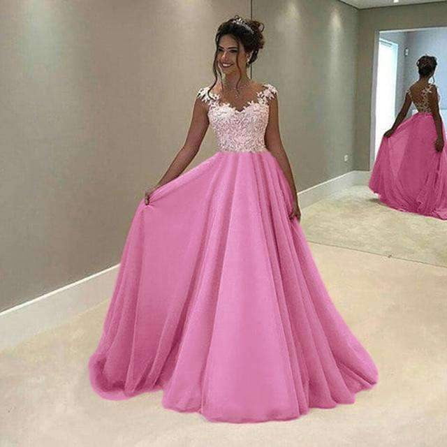 Elegant Prom Dresses New A Line V Neck Lace Long Party Gowns