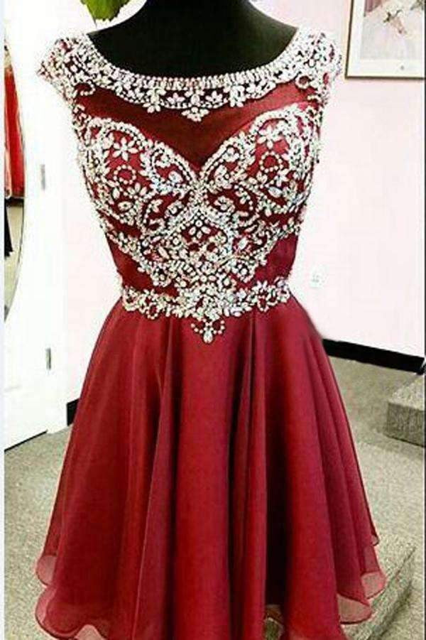 Elegant Red Sleeveless Chiffon Homecoming Dress,Beaded Short Prom Dress HCD73