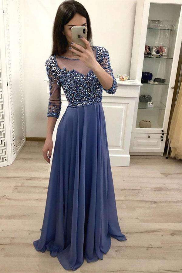 Elegant Blue Round Neck Chiffon 3/4 Sleeves Floor Length Prom Dresses with Beading