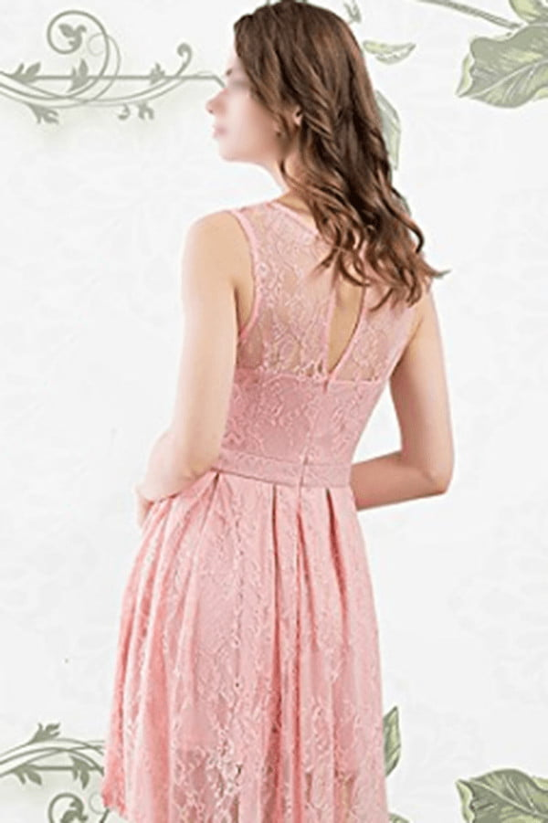 Elegant Round Neck Lace High Low Homecoming Dress M533