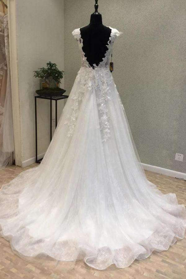 Elegant Round Neck Sleeveless With Lace Appliques Wedding Dresses W364