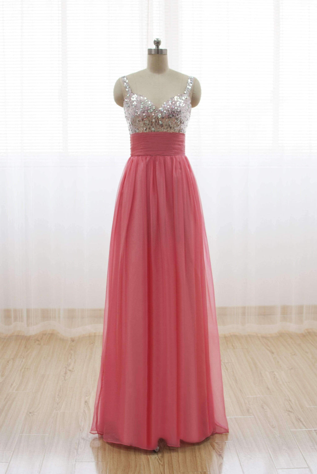 Elegant Sleeveless Empire Long Prom Dresses Affordable Bridesmaid Dresses