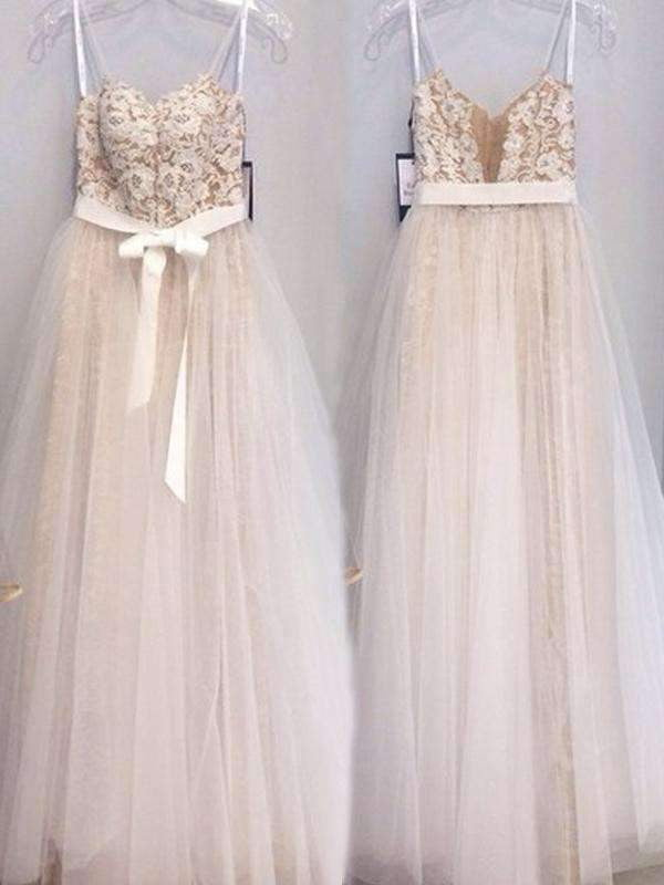 Elegant Spaghetti Straps Appliques Sequins High Waist With Sash A-line Long Prom Dresses. AB1082