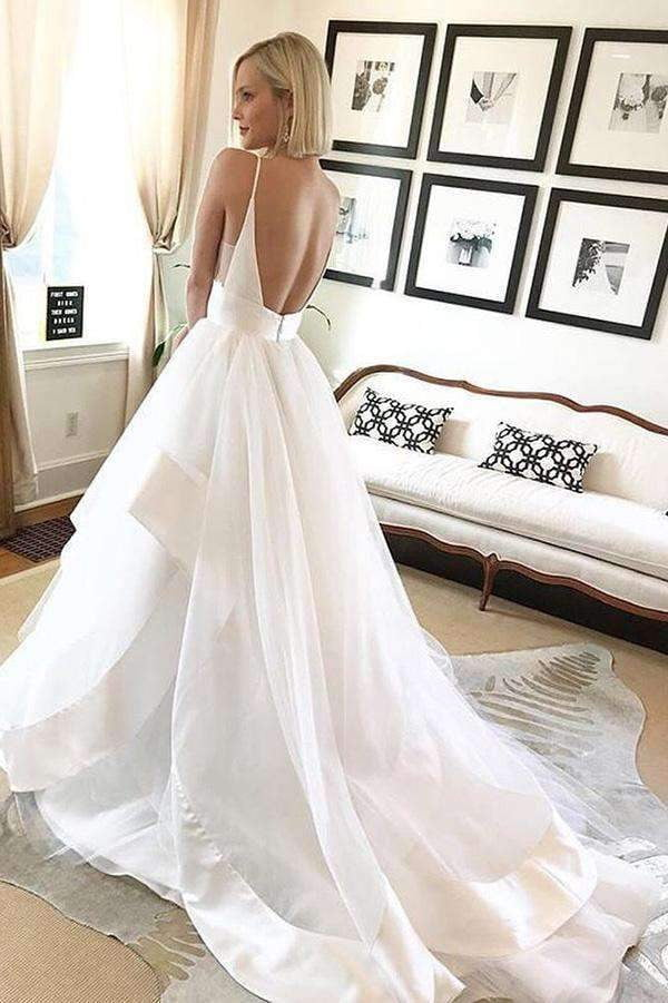 Elegant Spaghetti Straps Tulle Deep V Neck Ruffles Floor Length Wedding Dress W423