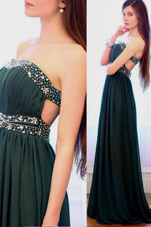 Elegant Strapless Chifffon With Beading Floor Length Prom Dress P735